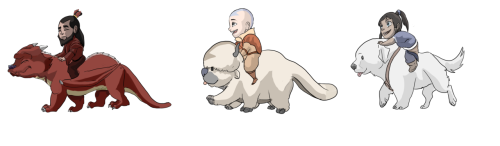 benditlikekorra:  palomacasado:  Avatars and their spirit animal guides  This is too adorable!