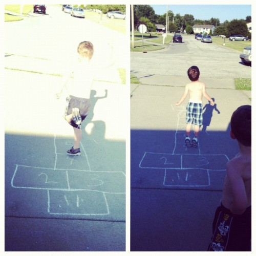 I need to refresh my memory on the rules of Hopscotch…I kind of improvised here.  (Taken with Instagram)