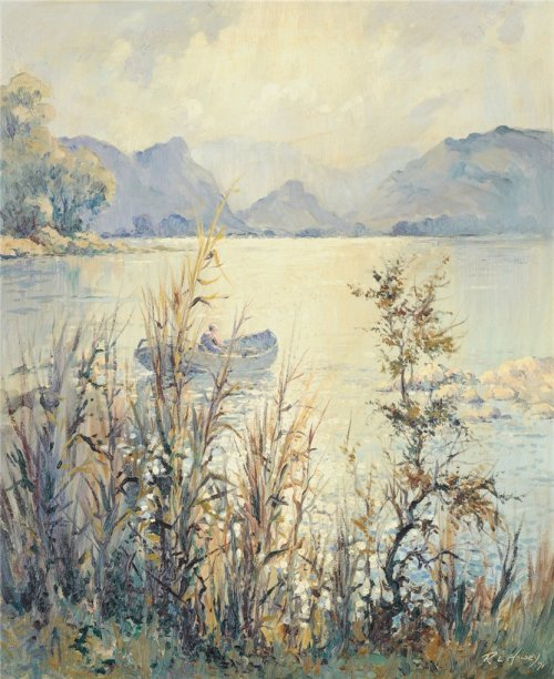colourthysoul:  Robert Leslie Howey - Scene in the Lake
