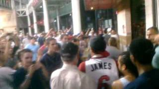 u0ykshtxp6:  Lebron Miami Heat fan gets ejected from Cleveland Indians game. 7-29-10This game ended up being much more than I bargained for. I started taunting this guy in the 1st inning and eventually got him pissed off enough to flip out. Make sure to pay attention to his girlfriend crying and the beer being thrown. Well Hell, cleveland did master the art of beer bottle throwing, right?Click on the Thumbnail to watch the videoOr visit http://mywebgossip.info/lebron-miami-heat-fan-gets-ejected-from-cleveland-indians-game-7-29-10/   oh man I remember this. I was at this game in the bleachers as this started to happen.