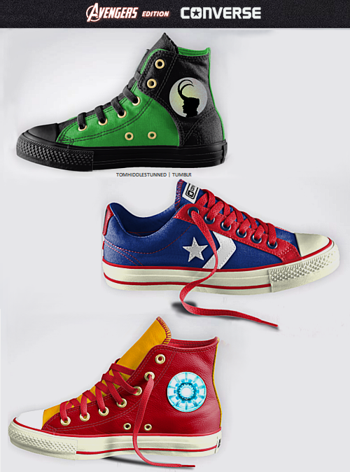 tomhiddlestunned:  Avengers edition Converse    oh my god