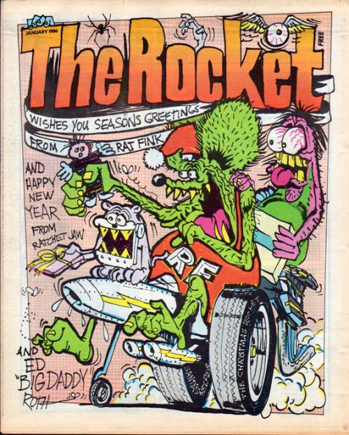 The Rocket, January 1986Illustration: Big Daddy Roth, art director: Art Chantry