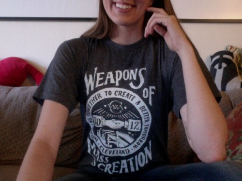 Really wishing I could be at Weapons of Mass Creation Fest today in Cleveland, so I'm sporting this shirt and pretending I was there. So proud of all my friends who spoke/showed work/played amazing music there, sorry I'm going to be a week late on my arrival to Ohio to enjoy all of it, but I'm there in spirit!