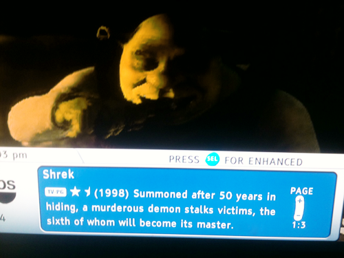 stabmeintheneck:  what shrek is about according to time warner cable