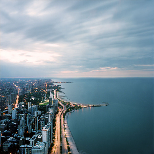 archenland:  Chicago from Above, Dusk (by Lindsay Blair Brown)