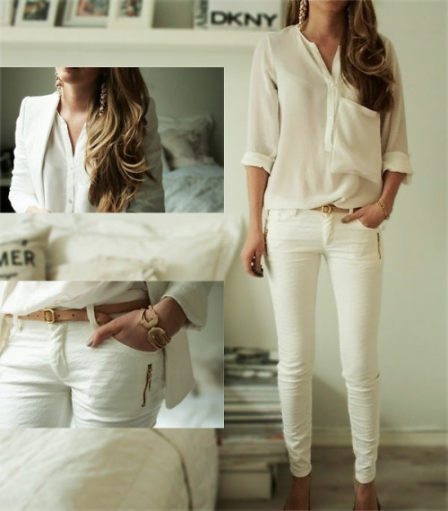 Best way to stand out? Keep everything cool and classy in monochromatic white and neutral accessories!