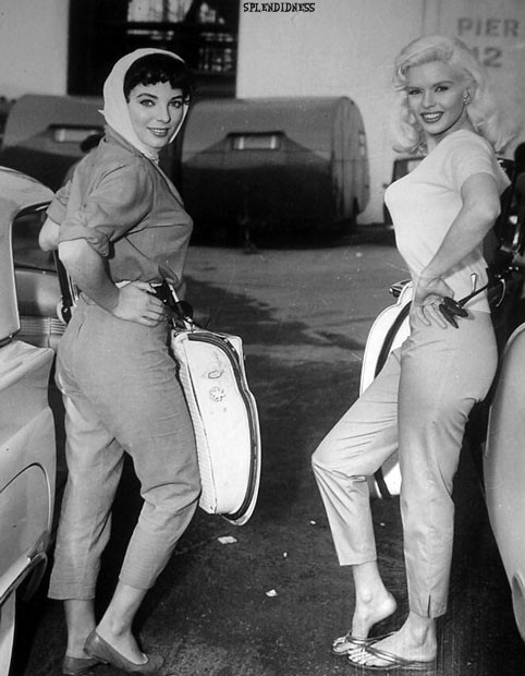 Joan Collins and Jayne Mansfield during production of The Wayward Bus - 1957.