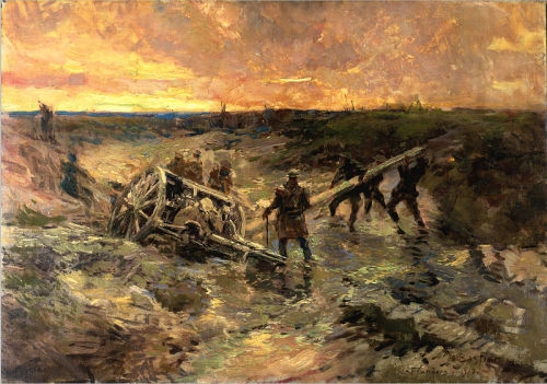 fuckyeahcanadianforces:  Canadian Gunners in the Mud, Passchendaele. Painting by Alfred Bastien.
