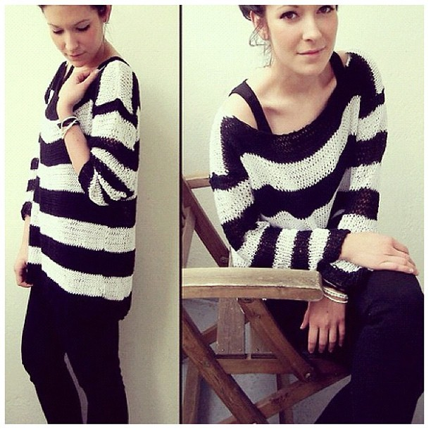 #striped #knit #fashion #sweater #style #photography #girl #smile #makeup #bracelet #pants #bun #chair  (Taken with Instagram)