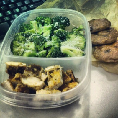 Tonights dinner.. My meals are pretty damn repetitive aren't they? #paleo #coconut crusted #chicken with #broccoli and 3 #plantain #chocolatechip #cookies. #foodporn (Taken with Instagram)