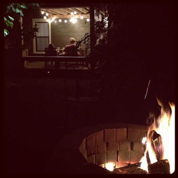 @ryanadams and I by the fire while the ladies talk on the porch.  Summer-lovin (Taken with Instagram)