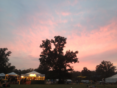 Pink clouds! Sunset at Bonnaroo 2012.