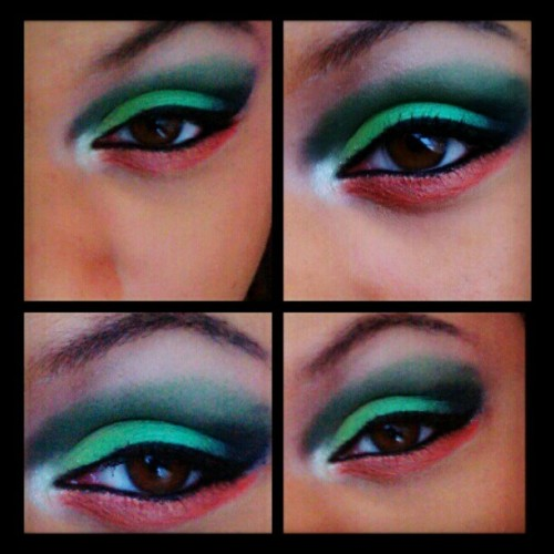 Green with envy. #makeup #makeupbylorealnicole #orange #popofcolor #beauty #fashion #creative #eyeshadow  #photography #browneyes  (Taken with Instagram)