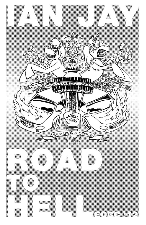 "Front cover for the (very, very limited run) ROAD TO HELL minicomic I'll be making for the summer cons. It's in keeping with my whole ""let's use a buttload of halftones for mini covers"" them, I guess. The back cover is a surprise!"