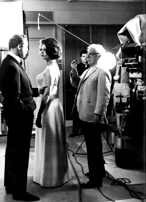Marlon Brando, Sophia Loren and Charlie Chaplin on the set of A Countess from Hong Kong, 1967.