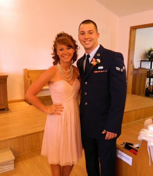 My brother is 18, and is in the Air Force. He just got married today, and I was a brides maid. We live in Illinois. He went to Texas for boot camp, and then he went straight to Phoenix. He just got back from there. And. Now, he is leaving for West Virginia. I won't get to see him much, but I support him. He is doing what he loves to do. He's always wanted to be in the Air Force, and as long as he is happy, so am I. I will miss you so much bubby, I know we haven't been close for that long, but I will always be here for you, wheneever you need me. Don't ever hesitate to ask. <3