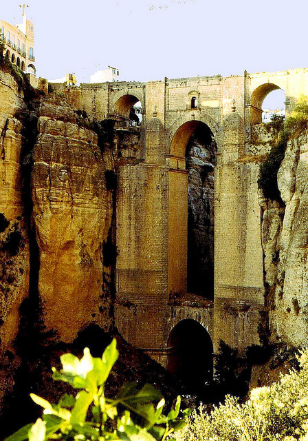| ♕ |  Ronda Bridge - Andalucia, Spain  | by © Rolf Bach El Puente Nuevo: this spectacular bridge over Ronda gorge in Malaga is still standing after its hundreds years of legendary history.