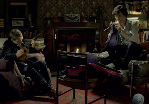 barachiki:  Sherlock and John settle into a comfy evening after a busy day of chasing cabs and shooting bad guys. Aren't hobbies fun!