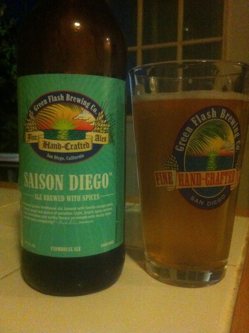 Green Flash's Saison Diego. A 3 of 4. I'm assuming this is just a rebranded Green Flash's Saison, but figured I'd give it another review. Quite an awesome saison with nice big carbonation and straw in the nose, as well as a relatively distinctive west-coast influence with the grapefruity hop notes up front. Drinkable and a nice saison w/ a bit more bitterness than usual. Solid stuff.