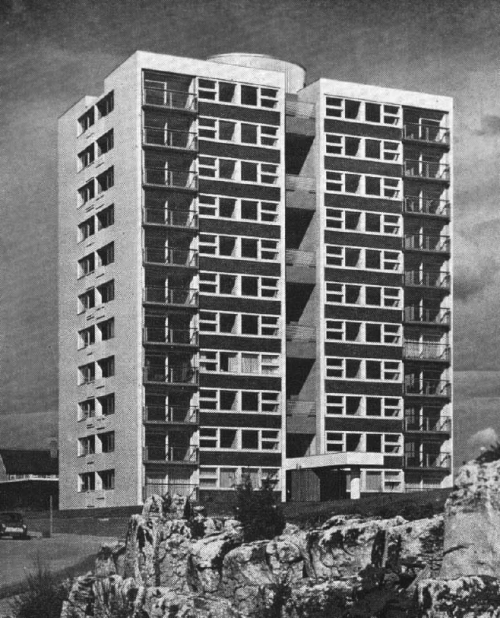 Whitley Lodge, Whitley Bay, Northumberland, UK (circa 1961). The 11 storey block, with a simple arrangement of four flats per floor, provides scenic views over the cliffs and coastline at the bay, as well as over farmland inland. The flats contain 2 bedrooms as well as 2 balconies - one for clothes drying and the other for refuse disposal. Designed by Ryder and Yates, it was built with an insitu reinforced concrete structure, with columns supporting plate floors. On the roof is an elliptical machine room clad with glass.