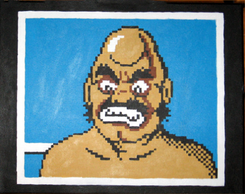 "Just one of the many portraits I've painted from Punch Out. I consider this piece an honor to his legacy and that you don't fuck with Turkish boxers. 16""x20"""