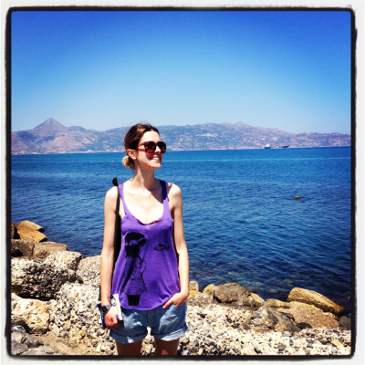 In creta. Wearing NY Illustration super comfy and cool tank top.