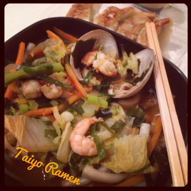 #spicy #seafood #ramen 🍜#yummy #haynaloha #hawaiilife #hawaii #foodie #foodporn #dinner #iphonesia #iloveeefood 😊💜✌ (Taken with Instagram at Taiyo Ramen)