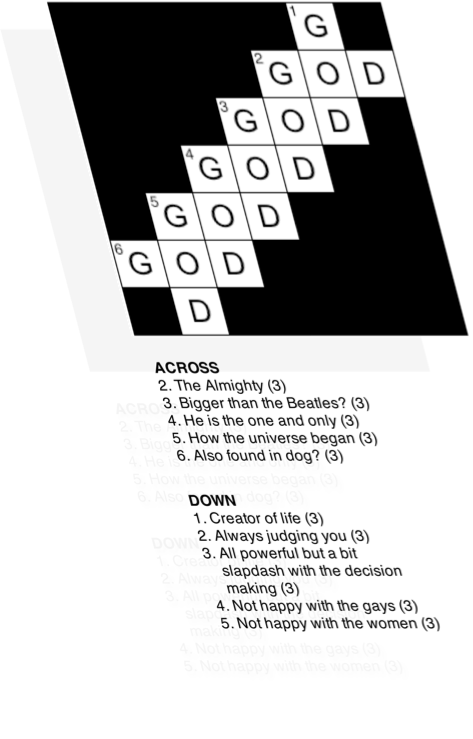 "Wouldn't crosswords be boring if your answer to everything was ""God did it""?I was doorstepped by an elderly couple with a Watchtower tucked under each arm. In the ten minute conversation that ensued the old theist arguments of ""the wonder of the creator"" and ""things look designed so they must be"" came up.I pointed out to the duo that for me, ascribing a creator to the universe and all that is within it actually removes any wonder I might have. That the universe has coalesced into the form it is today through the natural forces within it is far more wonderful to me than saying ""God did it"".That life on this planet has, over billions of years evolved into highly complex forms and is extremely well suited to the environment wherever it is found is wonderful. Saying ""God made 'em"" isn't.After ten minutes this nice couple were (politely) trying to get away from me.C'est la vie."