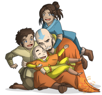 scarletneko12:  Aang with his children; Kya, Bumi and Tenzin. :3 THIS HITS ME RIGHT IN THE FEELS EVEN THOUGH I DREW IT. D': DeviantART link: http://sakura-rose12.deviantart.com/#/d532ski