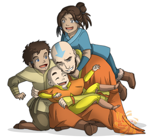 raeistic:  scarletneko12:  Aang with his children; Kya, Bumi and Tenzin. :3THIS HITS ME RIGHT IN THE FEELS EVEN THOUGH I DREW IT. D': DeviantART link: http://sakura-rose12.deviantart.com/#/d532ski avatar1000notes approved  Gah I love this! The characters are all very well-drawn and they stay true to the Avatar style. Plus the coloring is soft and gorgeous. This is really fantastic.