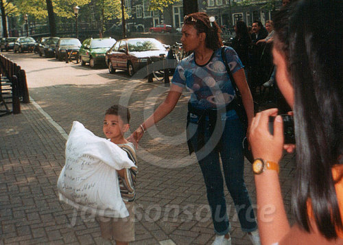 "On June 10, 1997 I went The Grand Hotel in Amsterdam where @michaeljackson was staying. He had just thrown a pillow outside and wrote these words on it: ""The sunshine is poison for my skin. Please understand. I love you more. Michael Jackson"". A little kid was the lucky receiver of the pillow. Later that day, I saw Michael leaving The Grand in his car as he went to Amsterdam Arena stadium to perform his second HIStory show in The Netherlands of the 1997 leg of the tour. Unfortunately, I did not have tickets to that show."