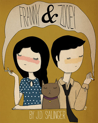 #40: J.D. Salinger, Franny and Zooey Franny and Zooey, consisting of a short story and a novella, revolves around the two youngest children of the Glass family, various members of which also appear in Salinger's Nine Stories, Raise High the Roof Beam Carpenters, and Seymour: An Introduction. The intricacies of Franny's emotional breakdown are well documented in the first section of Franny and Zooey; the latter section relays the Glass family's reactions to Franny's quiet pain unravelling on the family couch. As readers, we bear witness to Mama Glass's attempts to alternatively feed her chicken broth and get one of her other children to help the youngest. Zooey, the main recipient of Mama Glass's protests, complaints, and guilt tripping, makes every attempt to fix the situation through dialogue, which often turn into diatribes, causing Franny more emotional pain. One of the most interesting concepts that Salinger introduces in the work is Zooey's argument that their (Franny's and Zooey's) problems in the world stem from the special education that the two received from the eldest 2 siblings—Seymour and Buddy. Zooey believes that their incredible intelligence, specially cultivated by their brothers, has permanently disabled the both himself and Franny from experiencing joy or happiness.