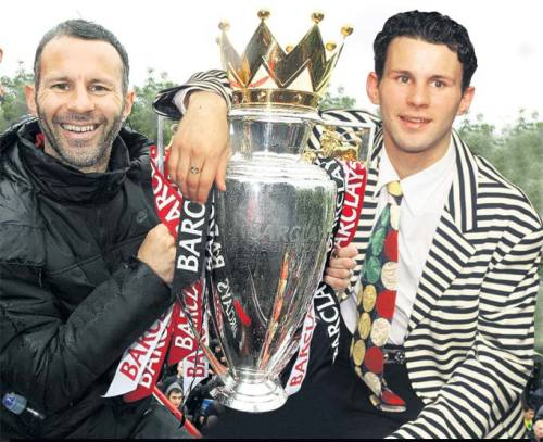 516y:  Ryan Giggs in 2011 and 1993.