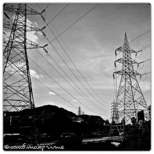 Power lines by the railway station (Taken with Instagram at Kharghar railway station)