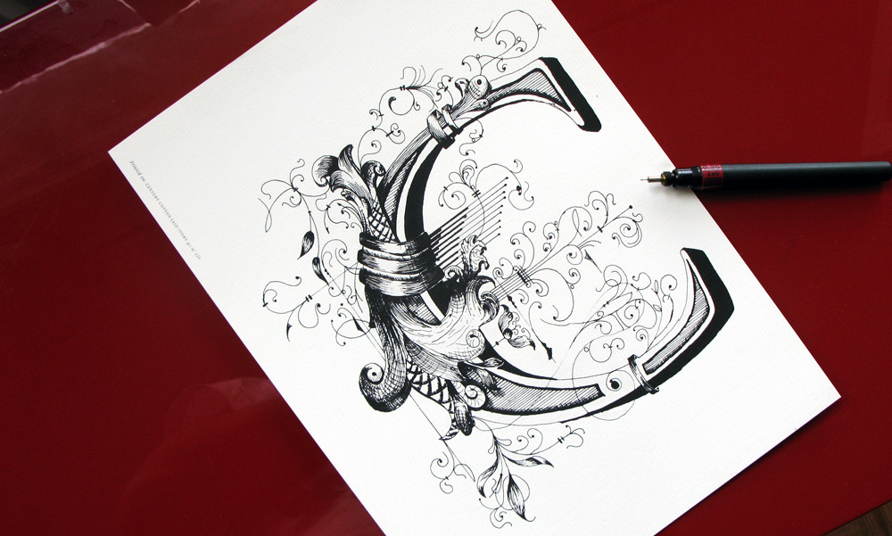 Calligraphi.ca Monogram C -Faber Caster, indian Ink on Conqueror Ivory. Giuseppe Salerno