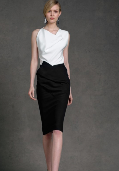 Donna Karan's Resort 2013 Collection showcases an array of practical and sophisticated day-wear of skirts and dresses with a neutral color palette of black, white, silver and vibrant pink.
