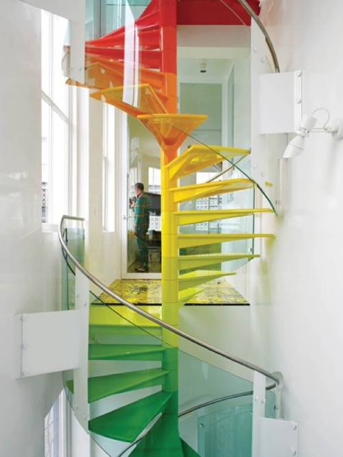 The beautiful stairs shown above (source : Dwell) are the work of a design firm called Ab Rogers in London for a home called the Rainbow House. The colorful stairs in the middle of a bright white space, are more inviting, fun, and still modern.