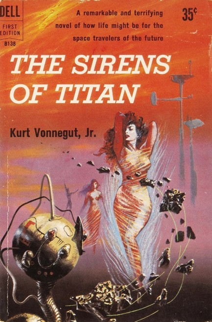 The Sirens of Titan, by Kurt VonnegutPaperback book cover, 1950sIllustration: Richard M. Powers Source: Pulp International
