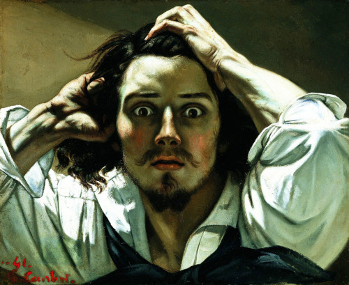fckyeaharthistory:  Gustave Courbet turns 193 today, in honour and celebration of the artist birthday. Here's one of his most iconic and striking Self-Portrait.    So my three best friends all took this set of courses our senior year called Recurring Themes. It was AP Lit, AP Euro, and AP Art History. Even though I didn't take the class, I became obsessed with a lot of the same art that they did, and this painting is one of the things we all fangirled about, hard.
