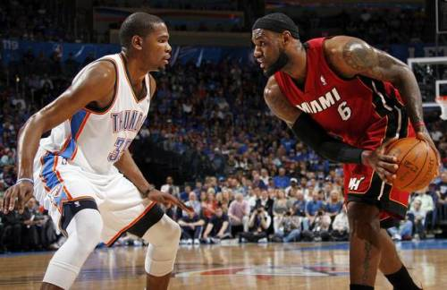 paulkatcher:  2012 NBA Finals Schedule  MIAMI HEAT vs. OKLAHOMA CITY THUNDER  Game 1: @OKC, Tue, June 12, 9 p.m. ETGame 2: @OKC, Thu, June 14, 9 p.m. ETGame 3: @MIA, Sun, June 17, 8 p.m. ETGame 4: @MIA, Tue, June 19, 9 p.m. ETGame 5*: @OKC, Thu, June 21, 9 p.m. ETGame 6*: @MIA, Sun, June 24, 8 p.m. ETGame 7*: @OKC, Tue, June 26, 9 p.m. ET* if necessary  This is going to be spectacular.
