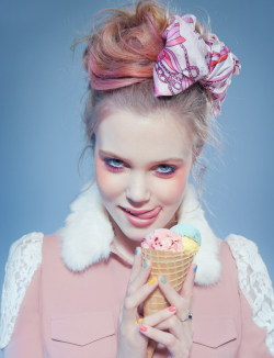marieovstebo:  Sweet pastel Photographer - Joanna Kustra  Fashion stylist - Sharpay Tang  Makeup artist - Kate O'Reilly  Hair stylist - Kazuto Shimomura Model - Liza Serepova @ Premier Model Managament