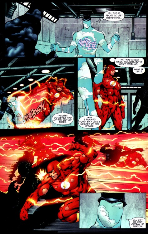 comicbadassery:  Just how fast is The Flash? Well, he can outrun himself, and has done so many times.  out ran your own shadow. BAMF