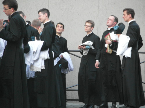 Young Priests outside the Duomo in Florence before the Corpus Christi procession