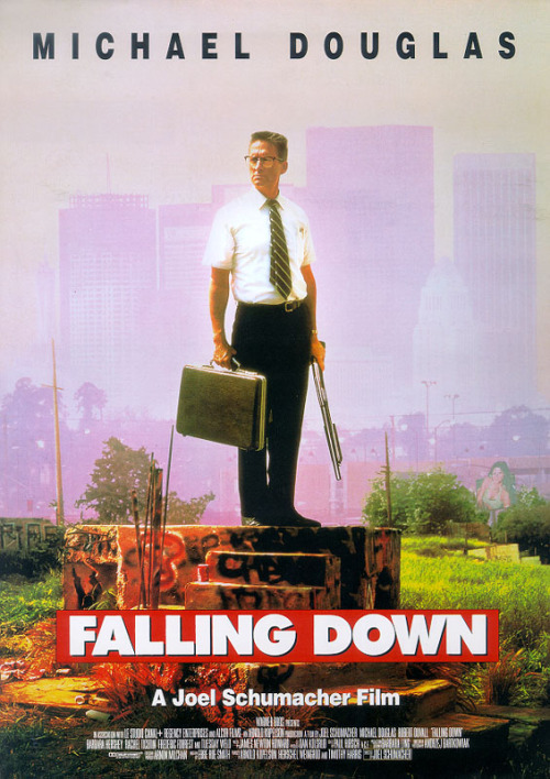 #364/#81 Falling Down A man (Michael Douglas) is taken to the edge of his sanity when everything in his life seems to be going completely wrong. Leaving his car in an LA traffic jam, he sets off across the city towards his ex-wife's house, leaving a trail of destruction and violence in his wake. While this is happening retiring cop Prendergast (Robert Duvall) has to put together the pieces of this sudden and bizarre series of events. This is a great film. It doesn't have a lot of superfluous characters, or even many secondary ones, but it focuses so perfectly on the two main characters that it's a treat to watch. You feel for both these men and can completely see why they are driven to the actions they undertake. Douglas is probably the best I've ever seen him in a role. He's not a good person but he is an empathetic one. You understand his plight and even kind of revel in the way he deals with it. He's a cathartic release for all the day to day minutia many of us have to deal with. Duvall, on the other hand, is our rational side reminding us you can do all these things but there are going to be consequences for your actions. There are a lot of interesting ideas in this film but it doesn't beat you over the head with any one issue, instead opting to throw in another fight scene or explosion. It's smart with a compelling storyline yet, never to overly wordy or complicated. 5/5