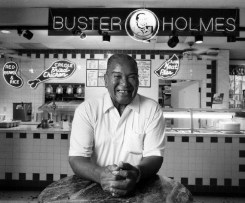 And here's Buster Holmes himself in 1989. Monday is red beans day; Chuck Taggert's recipe, based on Holmes', is a good starting point. There's a vegetarian version if you're so -inclined.