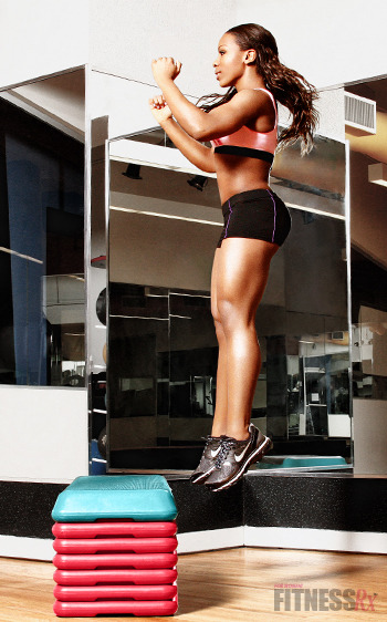 goodgoodnotbad:  Add Variations To Your Box Jumps Lateral Jump to Box 1. Stand to the side of the box with feet slightly wider than hip-width apart. 2. Lower body in to a semi-squat position and jump up on to the box. Do not hold a squat position before jumping up— keep the time between dipping down and jumping up to a minimum. 3. Feet should land softly on the box. Step back down and repeat. Lateral Box Push-Offs 1. Stand to the side of the box and place the left foot on top of the box. 2. Push off the box using the left leg only and explode vertically as high as possible. Drive the arms forward and up for maximum height. 3. Land with right foot on the box and left foot on the ground to the other side of the box. 4. Repeat from this side. Lateral Hurdle Jumps 1. Stand beside object to be cleared. 2. Bring knees up and jump vertically but also laterally off the ground and over the barrier. 3. Land on both feet and immediately jump the other direction back over the barrier. 4. Try not to pause between jumps or sink down into a squat position. Depth Jumps 1. Begin by standing on the box with toes close to the edge, feet shoulder-width apart. 2. Step off (do not jump off) box and land on both feet. Immediately jump up as high as possible and reach up with both hands toward the sky. The jump should be vertical with no horizontal movement. 4. Ground contact time should be short. Landing should be soft. Note: Start with a shorter box. Intensity can be increased by gradually increasing the box height.