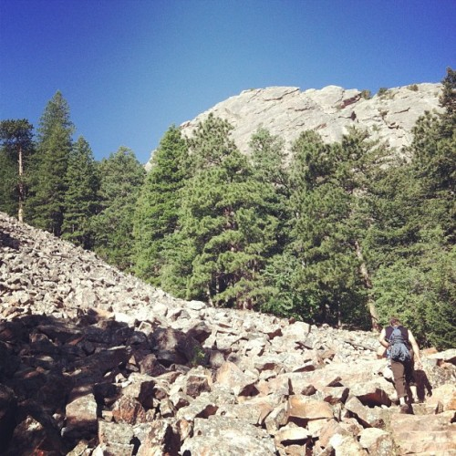 Hiking in to climb the 1st Flatiron, 13 pitches/1300ft. #boulder #colorado #climbing #flatiron (Taken with Instagram)
