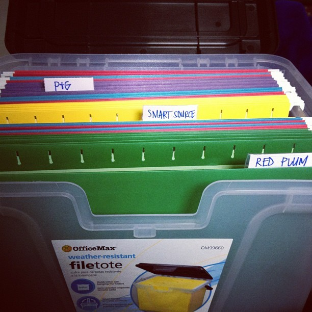 New coupon filing system.  So much easier than a binder. #coupons #savings #filing #frugal  (Taken with Instagram at Fanene Homestead)