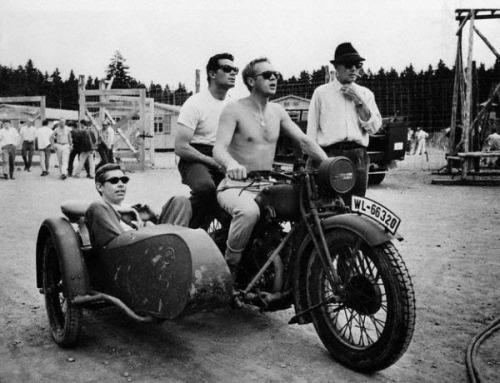 habermannandsons:  Three guys on a motorcycle - Steve McQueen, James Garner and James Coburn