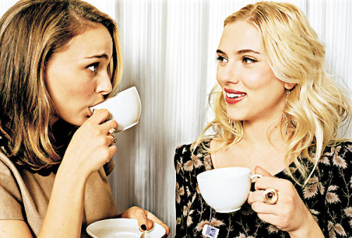 Scarlett Johansson and Natalie Portman with tea.